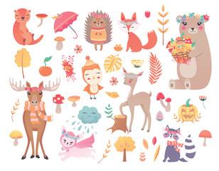 set wood forest Animals hand drawn style. mushrooms, trees, leaves. Cute autumn charactrs -owl, deer, moose, bunny,  bear, fox, raccoon, hedgehog. Vector illustration