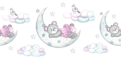 Watercolor children seamless borders with cute bears, birds, cradle, balloons, gifts, flags, clouds, moon, stars, hearts, indigo sky, nipple, feathers, notes, flowers and branches