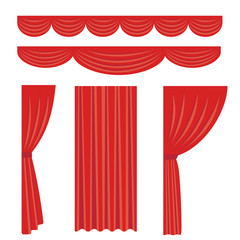Illustration set of red stage curtain