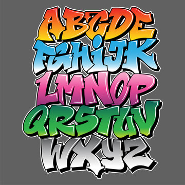 Graffiti style lettering text design