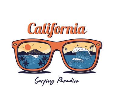 Sunglasses with summer ocean sea beach