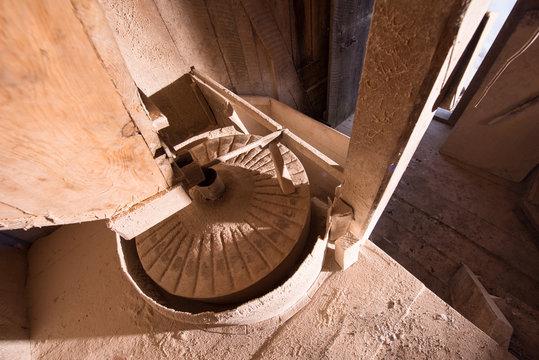 interior of retro wooden watermill