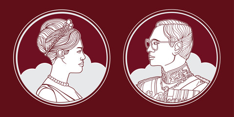 Portrait King and Queen of Thailand, vector