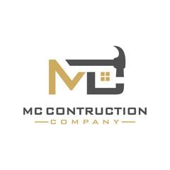 MC letter construction logo design