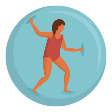 Woman in zorb ball icon. Flat illustration of woman in zorb ball vector icon for web design