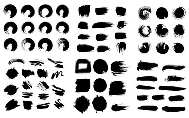 Korean, Chinese, Japanese ink brush strokes. Collection of Oriental design elements
