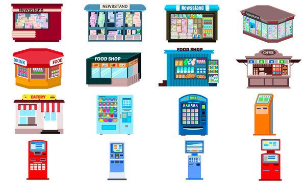 Kiosk icons set. Flat set of kiosk vector icons for web design