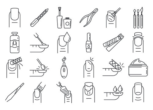 Nail manicure icons set. Outline set of nail manicure vector icons for web design isolated on white background