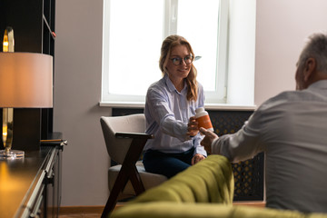 Female patient and her male psychotherapist swapping roles