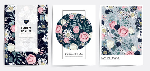 Wall Mural - Vector illustration of beatiful floral frame set in spring for Wedding, anniversary, birthday and party. Design for banner, poster, card, invitation and scrapbook