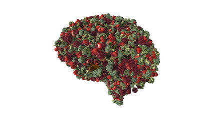 Vegetable mind - fruits and veggies in the shape of a brain illustrating vegetarian and vegan lifestyles