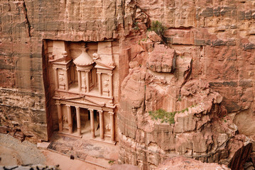 Al Khazneh - the treasury, ancient city of Petra, Jordan. View from the top.
