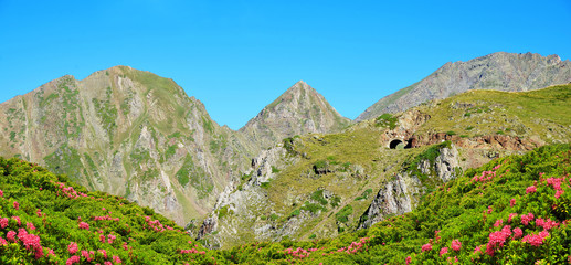 Beautiful mountain landscape near Col du Tourmalet in French Pyrenees.