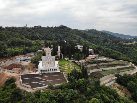 Aerial view on Bodbe Monastery, Georgia, Caucasus
