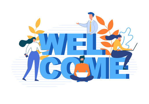 Welcome Word and Flat Cartoon People Characters