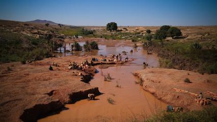 Mining of gems, gold and sapphires. Ilakaka Ihosy District, Ihorombe Region, Madagascar