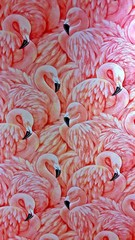 Foto auf Leinwand Flamingo flamingo pink and white wallpaper pattern muster