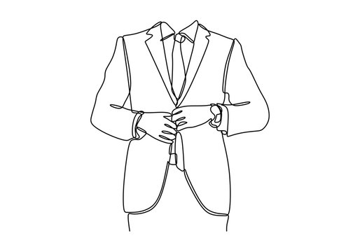 Continuous line drawing of People, business,fashion and clothing concept - close up of man in shirt dressing up and adjusting tie