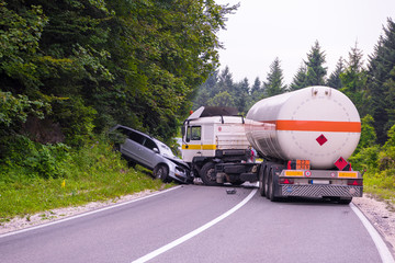 Truck and Car crash accident