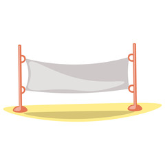 Cute cartoon vector illustration of volleyball net. Summer sport kids activity equipment - volleyball net for plays. Net for badminton, tennis, obstacle training and other sport activities. Vector