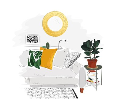 Living room interior with sofa, table, books, mirror and plant. Vector sketch illustration