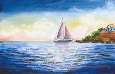 Watercolor picture of a sailing  boat with beautiful scenic coast and colourful town