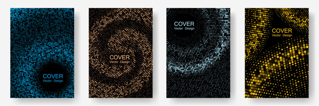 Halftone dots cover page layouts vector design.