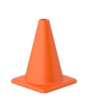 3d rendered orange traffic cone on a white background.