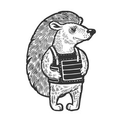 Hedgehog in flak jacket body armor sketch engraving vector illustration. Scratch board style imitation. Black and white hand drawn image.