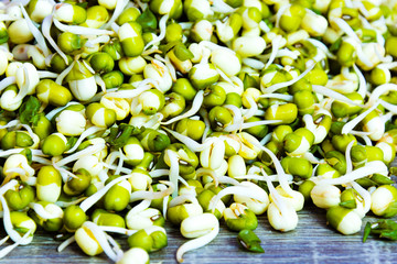 Green fresh mungo sprouts on a wooden background. Food photography. Minimalist photography.