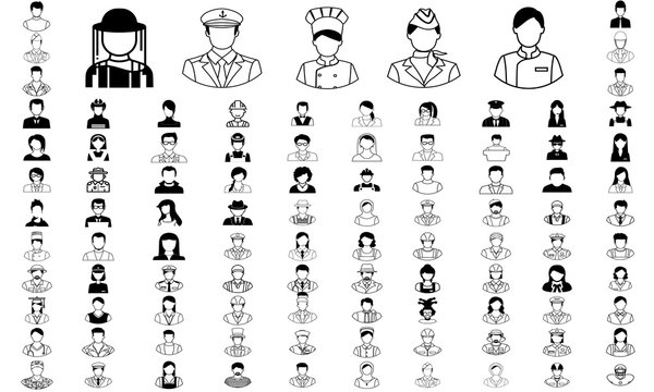 occupation icon set in simple black and white graphic.