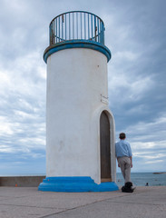 Foto auf Acrylglas Hund Cape d'Agde Languedoc France Lighthouse