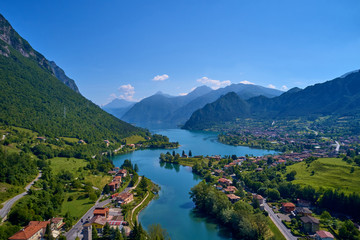 Aerial photography with drone. Panoramic view of Lake Idro in the north of Italy In the Alps.