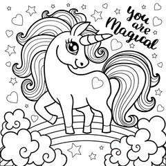 Magic animal horse for children. Unicorn fabulous. Cute cartoon black and white vector illustration with fantasy character.