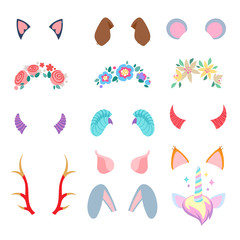 Video chat effects set with floral wreathes and animal ears and horns.