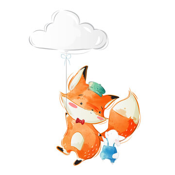 Cute Fox and Bunny Flying to the Sky