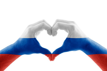 Two hands in the form of heart with Russian flag isolated on white background