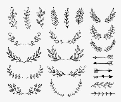 Vector dividers and laurels. Hand drawn doodle design elements. Borders and lines isolated.