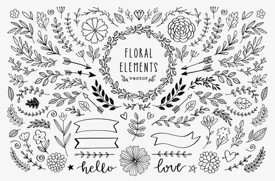 Vector hand drawn design elements. Vintage rustic floral illustrations. Doodle banners, laurels, wreath, branches, ribbons, divider, swirls, arrows.