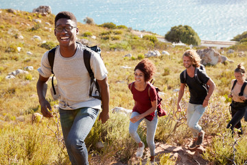 Millennial African American man leading a hike by the coast with friends, smiling to camera Fototapete