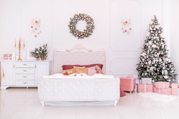 classic bedroom interior in new year style