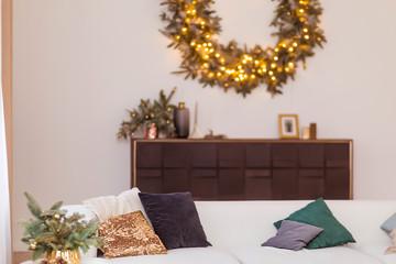Simple and stylish interior room. Christmas theme