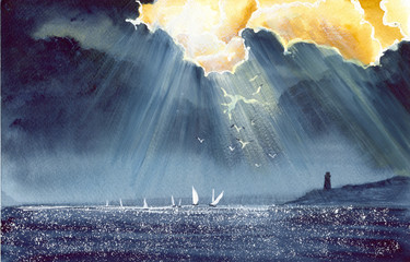 Watercolor picture of a sailing  boats and lighthouse after storm with dark stormy skies and rays of light