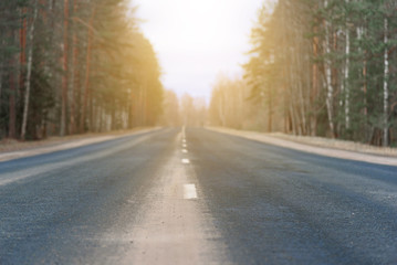 Highway with its white dividing strip lit by bright sunlight close up. The forest background in blur.