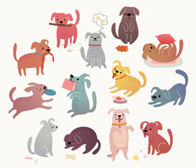 Wall Mural - Cute dogs set. Funny characters.