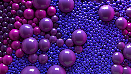 4k 3d animation of spheres and balls colorful rainbow in a organic motion background. Top view of bubbles colorful paint