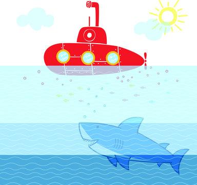underwater life red submarine and shark illustration