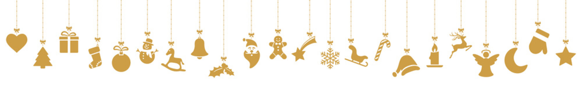collection of hanging christmas icons