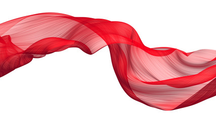 Fabric Flow Cloth Wave, Red Waving Silk Flying Textile, 3d rendering Wall mural