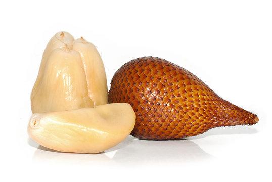 Snake skin fruit on white background